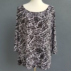 Laura Ashley Black Grey Stretchy Top 3/4 Sleeve 2X